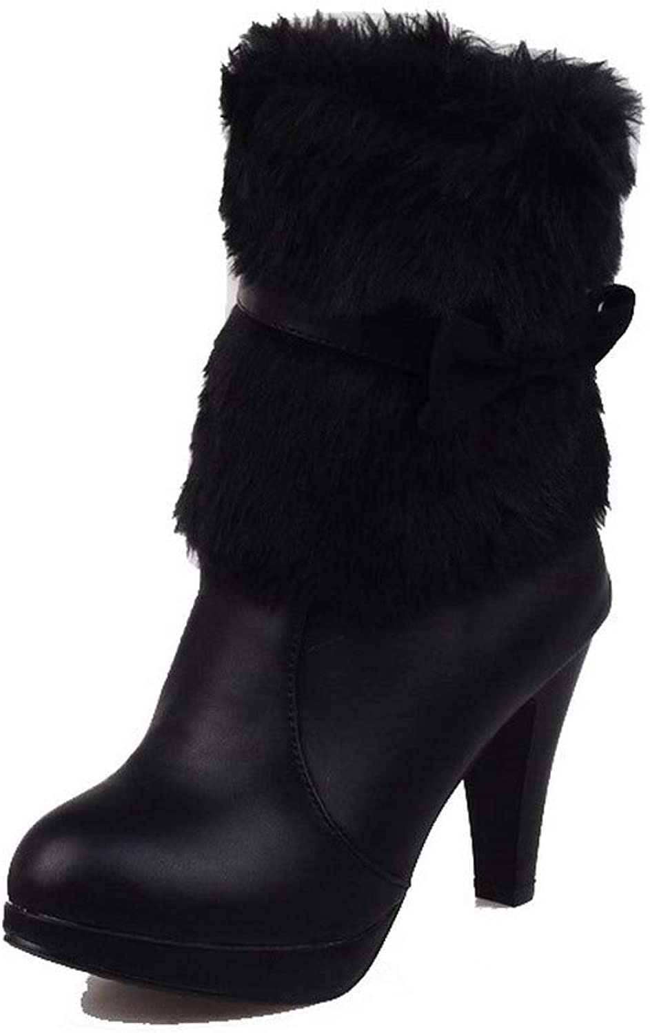 WeenFashion Women's Solid Pu High-Heels Pull-On Closed-Toe Boots, AMGXX120342