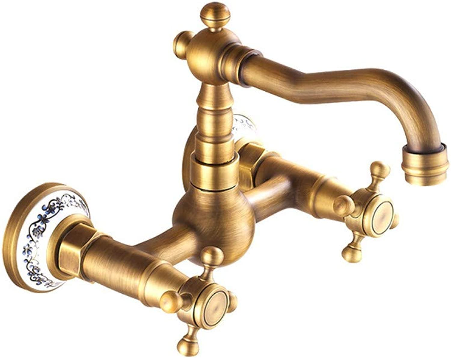 Retro Wall Faucet Double Handle Spiral Basin Faucet Copper hot and Cold Mixed Faucet Antique Ceramic