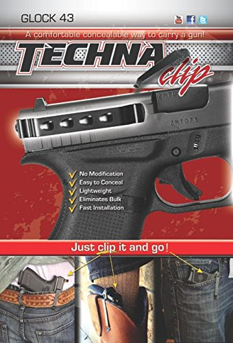 Techna Clip Compatible With Glock 43 .9MM - Conceal Carry Belt Clip (Ambidextrous), Black