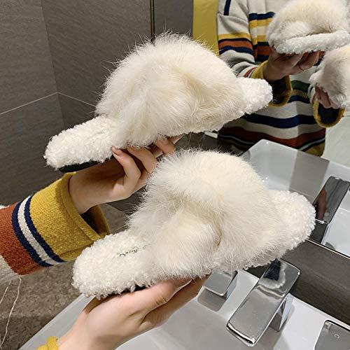 ENLAZY Damen Cross Band weiche Plüsch Fleece Hausschuhe Plüsch Flip-Flops Soft Home Indoor Spa Schlafzimmer Hausschuhe Schuhe, weiß, 38
