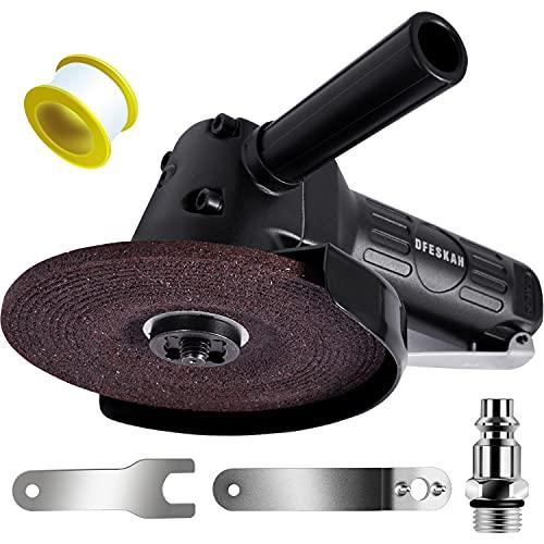 DFESKAH - Amoladora angular de aire comprimido de 125 mm de diámetro, con protección de cabeza plana, para lijar, pulir, cortar