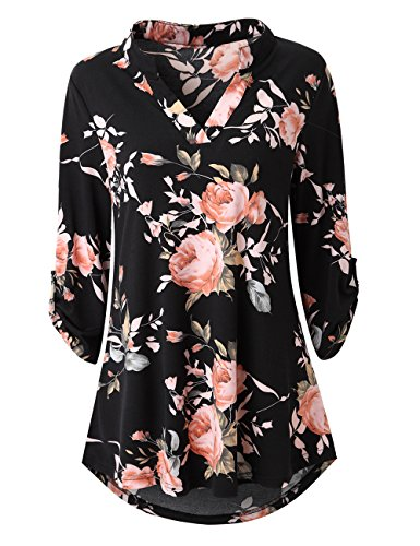 Zattcas Womens Floral Printed Tunic Shirts 3/4 Roll Sleeve Notch Neck Tunic Top,Black,XX-Large
