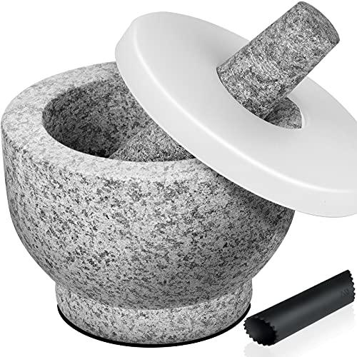Tera Mortero y Maja de Mortero Granito Capacidad 440ml con 1 Pela Ajos Silicona 1 Almohadilla Adhesiva Antideslizantes y 1 Cubierta