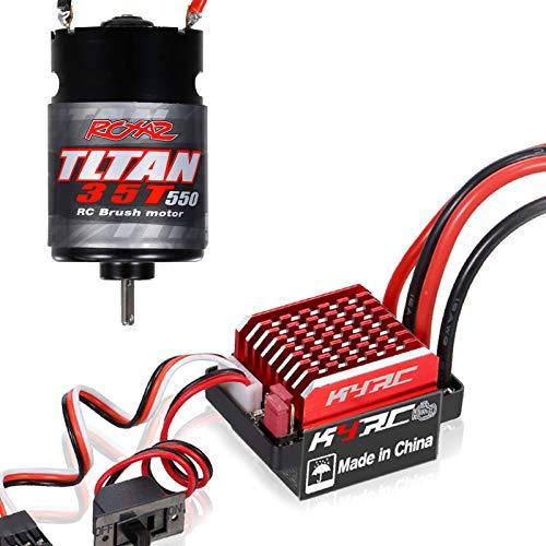 Tooart Motor RC Esc, Motor 550 35T Cepillado con Controlador de Velocidad eléctrico Cepillado 60A Esc 6V / 2A para Coche Todoterreno Cross Country Compatible con camión Tractor 1/14