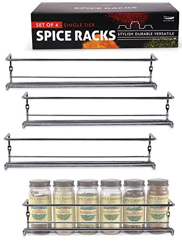 Premium Spice Rack Organizer for Cabinets or Wall Mounts  Space Saving Set of 4 Hanging Racks  Perfect Seasoning Organizer For Your Kitchen Cabinet Cupboard or Pantry Door