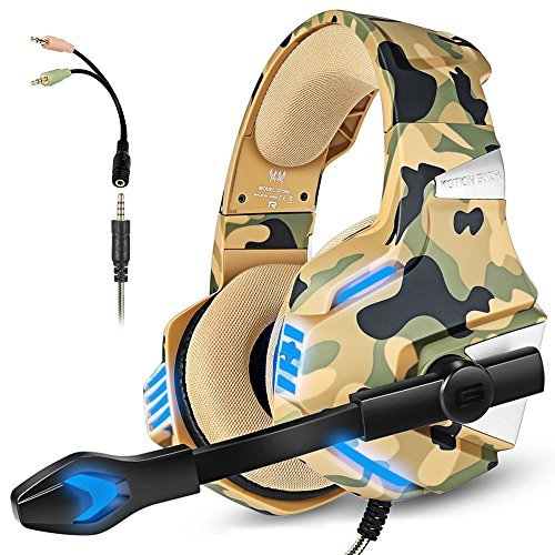 Gaming Headset with Mic for PS4 Xbox One Controller PC Switch Tablet Smartphone, Camouflage Stereo...