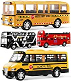 Geyiie Bus Toys for Kids, School Bus for Toddler Die Cast Yellow Bus Set Pull Back Cars Toys Play Vehicle, City Bus London Car Gift for Boys,Girls Holiday Party Favor, 4 Pack