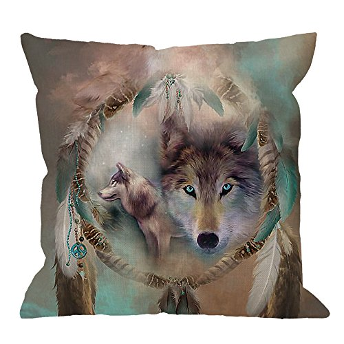 HGOD DESIGNS Wolf Pillow Case,Best Cool Wolf Dream Catcher Cotton Linen Cushion Cover Square Standard Home Decorative for Men/Women 18x18 inch Brown Green Gray