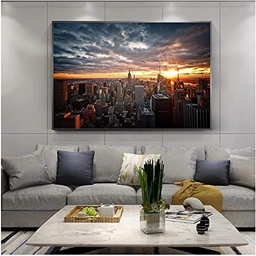 New York City Sunset View Canvas Paintings on the Wall Art Posters e impressões Skline of Manhattan Pictures Home Decor-40X60cm Frameless