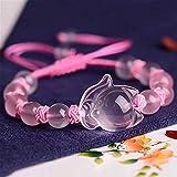 Pulsera de riqueza de Feng Shui, pulsera de cristal de cuarzo natural de rosa natural con exquisito adorno de zorro, cristal de curación Atraer Lucky Love Ajustable Joyería a mano regalo para las muje