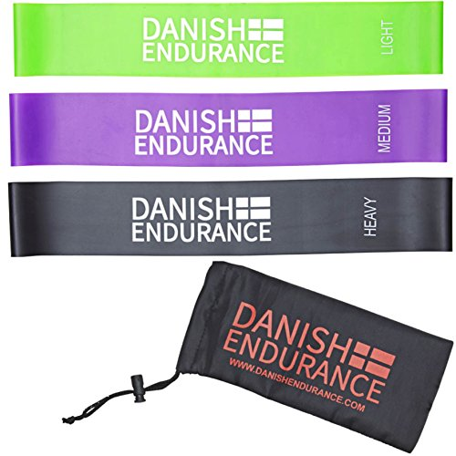 Bandas Elásticas de Resistencia de DANISH ENDURANCE (juego de 3) // Bandas de Fitness en forma de bucle // Resistencia ligera, media y pesada // Ideales para el ejercicio, el entrenamiento, el estado físico y el estiramiento en casa, en el trabajo o de viaje // Pilates, terapia física, yoga y CrossFit // Durables, ligeras y compactas // Diseñadas y desarrolladas en Dinamarca. (Verde, Púrpura, Negro, 3 Unidades)