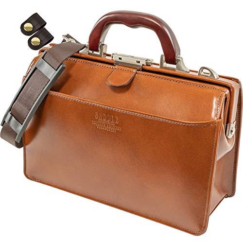 高級 本革 ダレスバッグ メンズ A5ファイル対応 + 竹八謹製 牛革製ケーブルバンド2個 セット tm0639 (ブラウン)