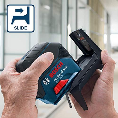 Bosch Professional Kreuzlinienlaser GCL 2-15 (roter Laser, Innenbereich, mit Lotpunkten, Arbeitsbereich: 15 m, 3x AA Batterien, Drehhalterung RM 1, Laserzieltafel, Schutztasche) - 2