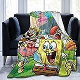 Sponge Bob Blanket Customized Blanket Warm Flannel Fleece Throw Blankets Ultra Soft Cozy Blankets for Sofa Bed Camp All Seasons