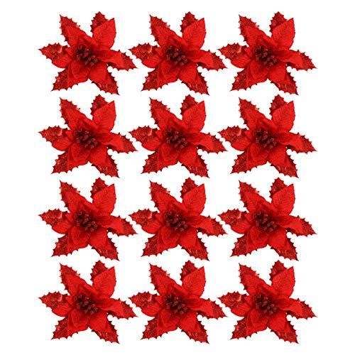 Garneck 12pcs Christmas Poinsettia Flowers Glitter Decorative Silk Flower Artificial Flower Picks Spray for Flowers Arrangement Wreath Tree Ornaments (Red)