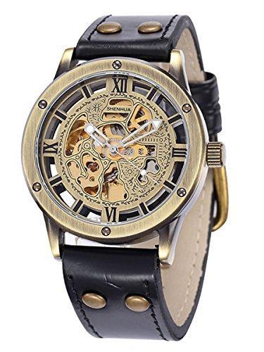 Alienwork Retro Herren Damen mechanische Automatik-Uhr Bronze mit Lederarmband schwarz