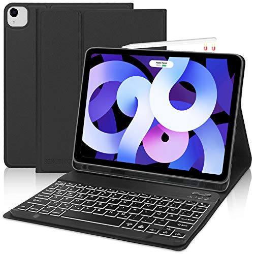 SENGBIRCH Tastatur Hülle für iPad Air 4 Generation, Bluetooth Tastatur mit iPad Schutzhülle (Beleuchtet Tastatur Deutsch Layout) Kompatibel mit Neue iPad Air 4 & iPad Pro 11 1&2 Generation - Schwarz