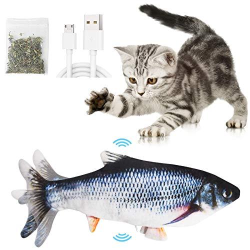 Catnip Giocattoli per Gatti, Giocattoli Elettrici per Pesci,Catnip Giocattoli,Giocattolo interattivo Gatto,Simulazione Peluche di Pesce, Giocattoli per Gatto per Gatto Kitty