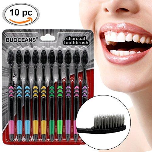 Zahnbürste, Handzahnbürsten, Bambus Zahnbürste, 10er-Pack Ersatzzahnbürsten mit Zungenreiniger, MEDIUM, 5 Farben (Zahnbürste für Mundhygiene, gepflegte Zähne, Effektive Reinigung)
