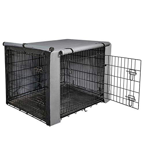 """yotache Dog Crate Cover for 42"""" Large Double Door Wire Dog Cage, Lightweight 600D Polyester Indoor/Outdoor Durable Waterproof & Windproof Pet Kennel Covers, Gray Covers Kennel"""