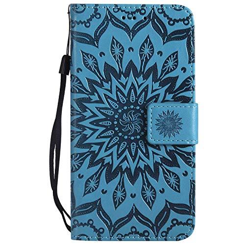 KKEIKO Hülle für Galaxy J2 Pro 2018, PU Leder Brieftasche Schutzhülle Klapphülle, Sun Blumen Design Stoßfest HandyHülle für Samsung Galaxy J2 Pro 2018 - Blau