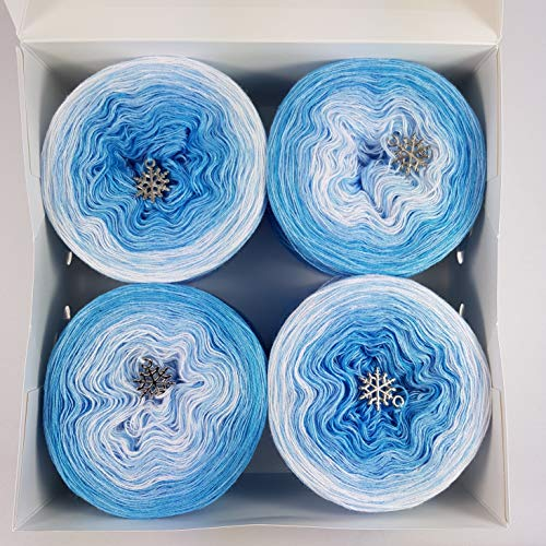 LiLu´s Märchengarne (78,54€/kg) Farbverlaufsgarn Cupcakes - Himmelblau Topping Gesamt 280g 3Fädig 4X 350m Wolle bobbel Colour Gradient