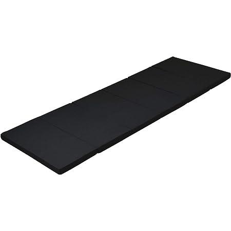 [アキレス] マットレス 折りたたみ 硬め 高硬度(265N) 腰痛 スモール セミシングル (幅60×長さ180㎝) 抗菌 消臭 厚み4㎝ 車中泊 災害 ごろ寝 六つ折り コンパクト ブラック MK6-SSS BK