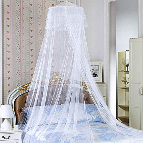 BETOY Prinzessin Moskitonetz aus Spitze Himmelbett-Moskitonetz Spitzen-Betthimmel für Kinder Fliegen und Insekten-Schutz und Dekoration Höhe 250 cm(Weiß)