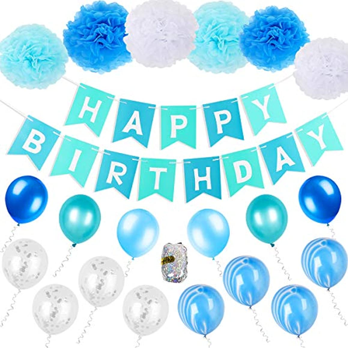 FATPET Blue Birthday Decorations Blue Party Supplies Boy Birthday Decoration 1st Birthday Boy Decorations Blue Birthday Party Supplies Happy Birthday Banner