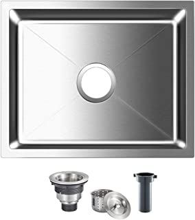 Sponsored Ad - ROVOGO 19.7 x 15.7 inch Undermount Stainless Steel Kitchen Sink Single Bowl, Handmade Bar Prep Sink with Ba...