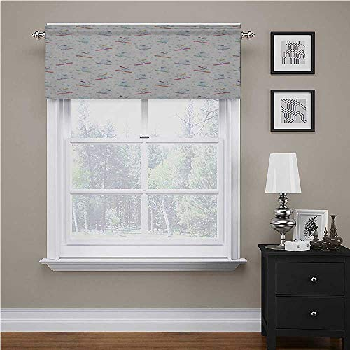 Youdeem-tablecloth Bear Window Valance Funny Polar Teddy Bears on Snowboards Skiing with Scarf and Glasses Ornate Snowflakes Windows for Kitchen Farmhouse Multicolor 56' x 16', Rod Pocket 1 Valance