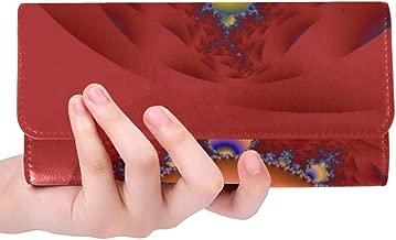 Unique Custom Fractal Abstract Pattern Design Women Trifold Wallet Long Purse Credit Card Holder Case Handbag