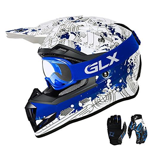 Product Image 2: GLX Unisex-Child GX623 DOT Kids Youth ATV Off-Road Dirt Bike Motocross Helmet Gear Combo Gloves Goggles