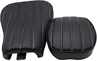 GOOFIT Motorcycle Black Front Rider Solo Seat + Rear Passenger Cushion Compatible with Harley Sportster Forty Eight Seventy Two 883 48 72 2004-2017(Vertical)