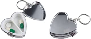 Pack of 2 Metal Heart Shape Pill Boxes Keychain Two Compartment Medicine Holder Container Vitamin Drug Case Organizer Keyring