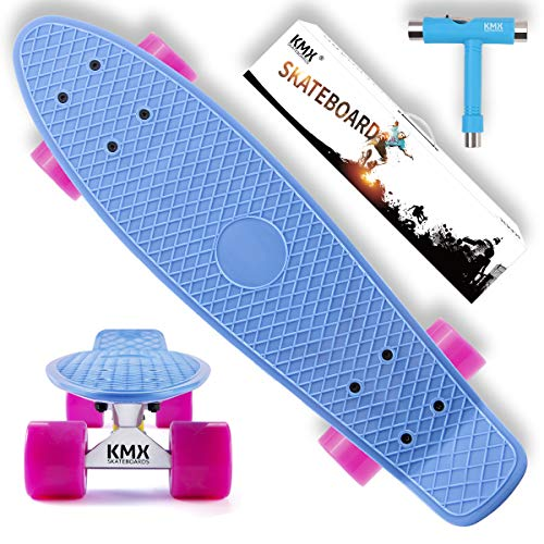 KMX 22'' Complete Mini Cruiser Plastic Skateboard Gift Set for Kids Teens Beginners (Blue)