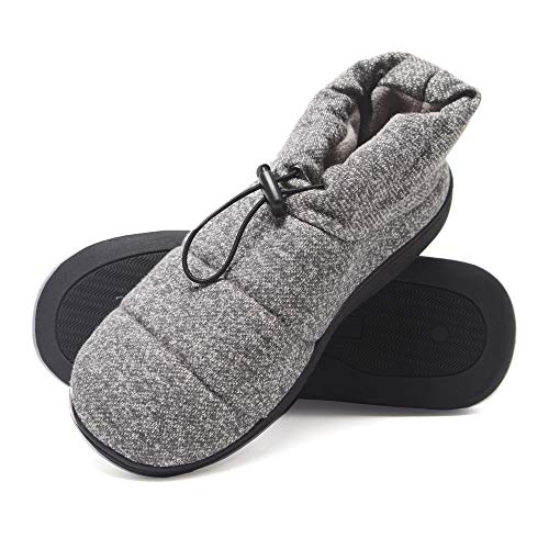 Hanes Men's Slipper Boot House Shoes with Indoor Outdoor Memory Foam Odor Protection Fresh IQ Sole, Grey, X-Large