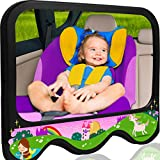 COZY GREENS Baby Car Mirror Girls Theme | Baby Mirror for Car Back Seat | Shatterproof, Stable, Crash Tested | 100% Lifetime Satisfaction Guarantee | Wide View Carseat Mirrors Backseat Rear Facing