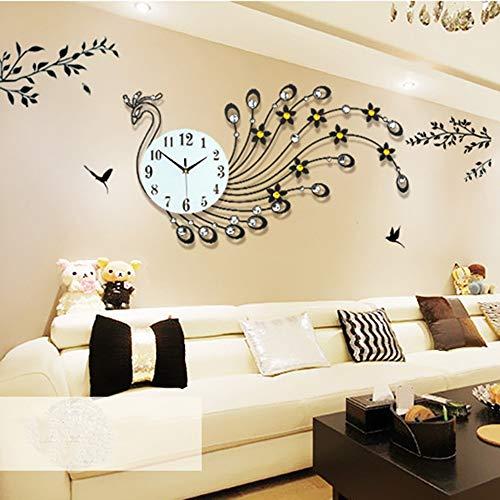 WRDY Pavo real relojes reloj de pared Continental Hierro creativo vida electrónica despertador reloj de pared reloj de cuarzo 82 × 48cm