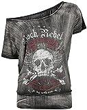 Rock Rebel by EMP Dunkelgraues T-Shirt mit weitem Ausschnitt und Print Mujer Camiseta Gris Oscuro XXL