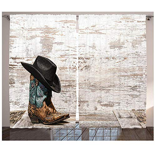 MUXIAND Western Gordijnen 2 Panel Set Traditionele Rodeo Cowboy Hoed Cowgirl Laarzen een Retro achtergrond Art Photo Woonkamer Slaapkamer