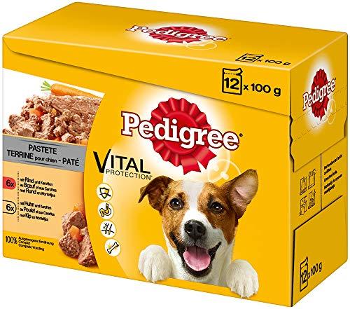 Pedigree Vital Protection Hundenassfutter im Beutel – Hundefutter als Pastete mit Rind & Karotten und Huhn & Karotten – 48 Beutel (4 x 12 x 100g Großpackung)