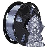 Amazon Brand - Eono Seide PLA 3D-Druckerfilament - Seiden Silber Glänzendes Metall -1,75 mm - 1 kg 2,2 lbs Spule,Hat eine metallisierende Optik
