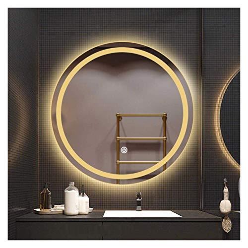 JKFZD Espejo de Baño Inteligente LED Espejo de Tocador Montado en La Pared Redondo Interruptor de Un Solo Toque (Color : Warm Light, Size : 50cm)