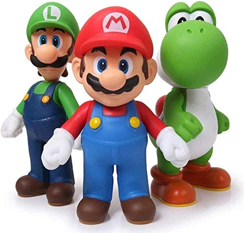 UanPlee-SC Gift 3pcs Super Mario Bros Mario Yoshi Luigi PVC Action Figure Collection Model Toy 11-12cm