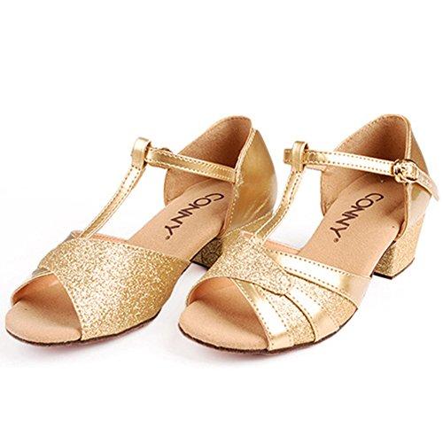 GUOSHIJITUAN Meisjes Latein dansschoenen, leer stille onderste Middelse Heels Dancing schoenen Tango Salsa sociale dansschoenen