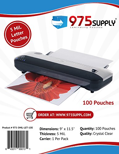 975 Supply Laminating Pouches, 5 Mil Clear Letter Size Thermal Laminating Pouches, 9 X 11.5 inches, 100 Pouches