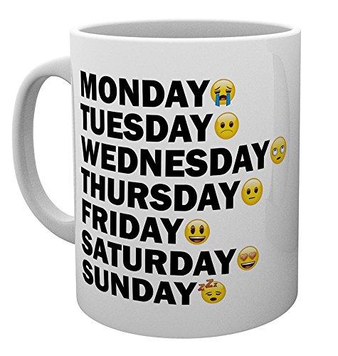GB Eye Emoji-Tagen der Woche Becher, Mehrfarbig