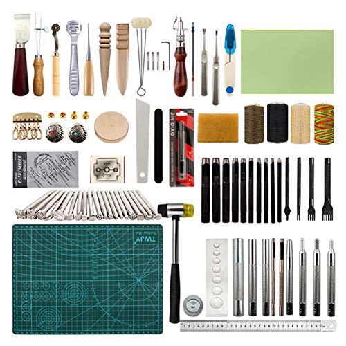 89 Pieces Leather Gereedschap Kit, Lederen hulpmiddelen en benodigdheden, leerbewerking Kits Supplies voor Stikkende Ponsen Cutting Naaien