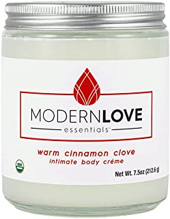 Organic Warming Intimate Body Créme by Modern Love Essentials - Coconut Based, Organic, Natural - Flavored with Cinnamon & Clove Essential Oils